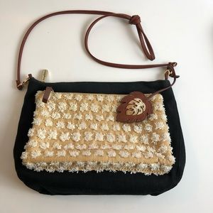 Tommy Bahama Black Canvas Straw & Leather Purse